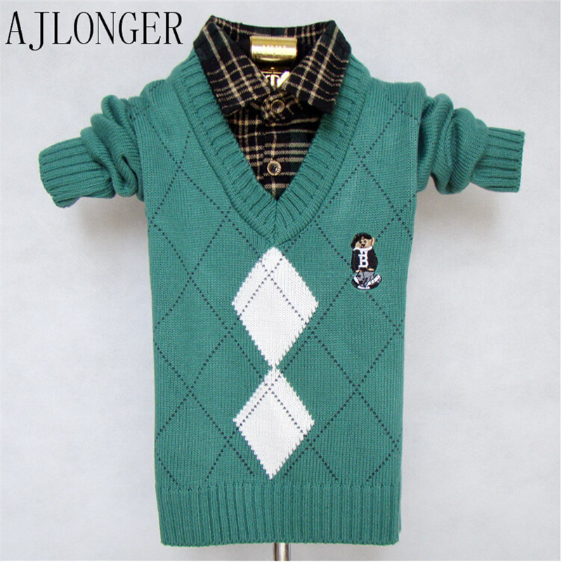 Children Sweaters Shirts Boys Knitted Warm Sweater 2015 New Autumn Winter Pullover Fancy Kids Clothing