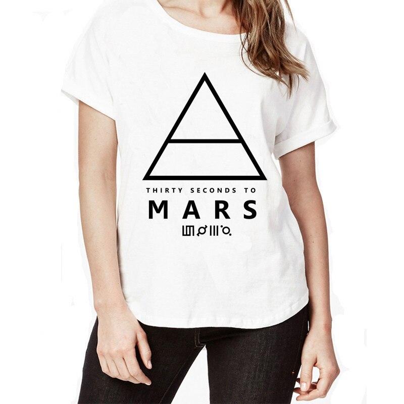 Новое поступление 30 Seconds To Mars женская футболка Забавный обычай белая футболка короткий рукав белая футболка Марс футболка ...