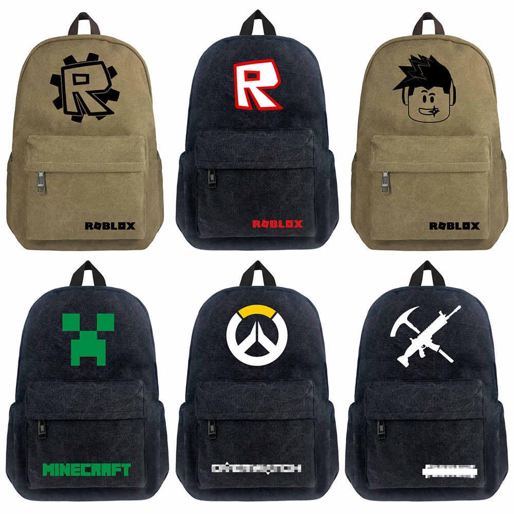1616bb857f2d Hot Game Roblox OW Creeper Alpaca Boy Girl School bag Women Bagpack  Teenagers Schoolbags Canvas Men