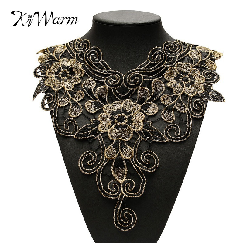 Online Shop KiWarm 1Pc Fashion Flower Applique Lace Neckline Neck Collar  For Home Handmade Apparel Sewing Decoration Accessory Trim Clothes  6f2e00e410e0
