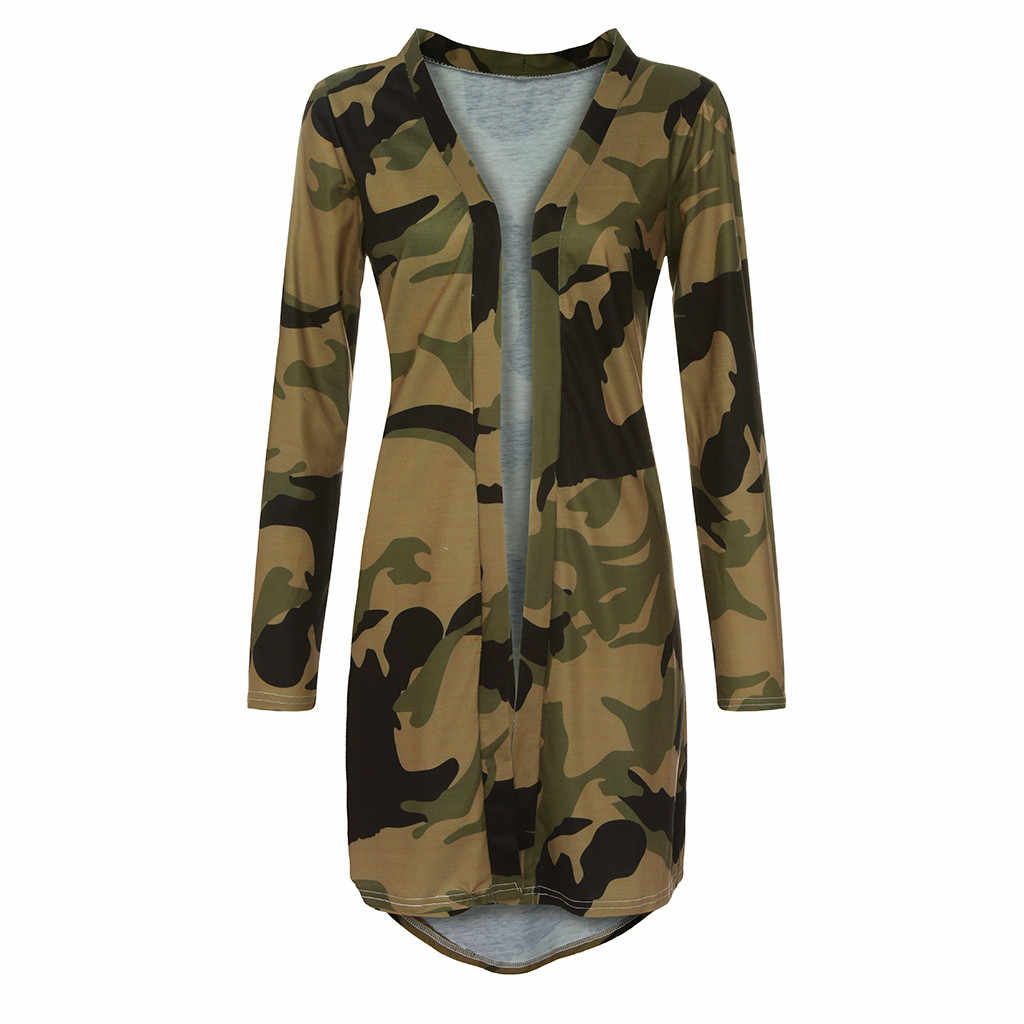 Vrouwen Vest Dunne Jas Camouflage Print Lange Mouwen Slim Joker vrouwen Lange blosue Camouflage Jas Bovenkleding Jas