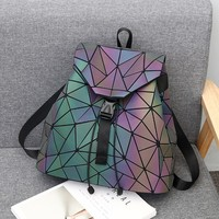 Geometric Backpack Women Fluorescent Gradient Shoulder Bag Luminous Holographic Backpack Drawstring Bag For Teenage Girls