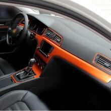Savanini Car-Styling Nuevo Interior Del Coche Calcomanías de Moldeado De Fibra De Carbono Pegatina de Cambio de Color de La Consola Central Para VW Tiguan 2010-2016