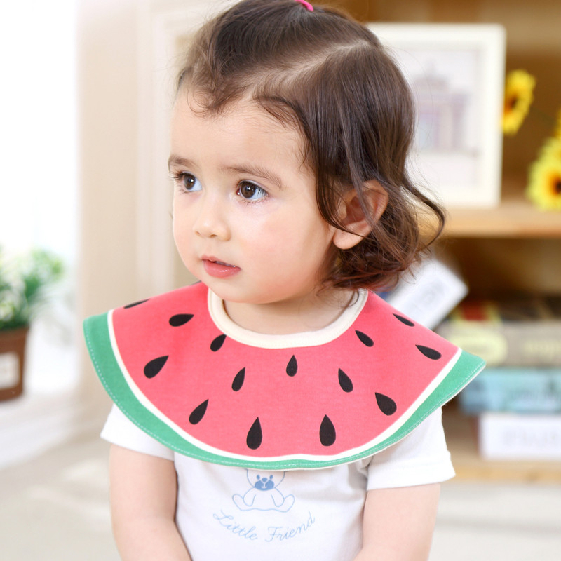 Baby drool bibs toddler circular waterproof bib girl fruit styling boy stuff burp cloth infant smock newborn feeding salivatowel