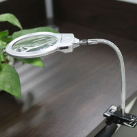 2X 107MM 5X 24MM LED Illuminating Magnifier Metal Hose Magnifying Glass With Light Desk Table Reading