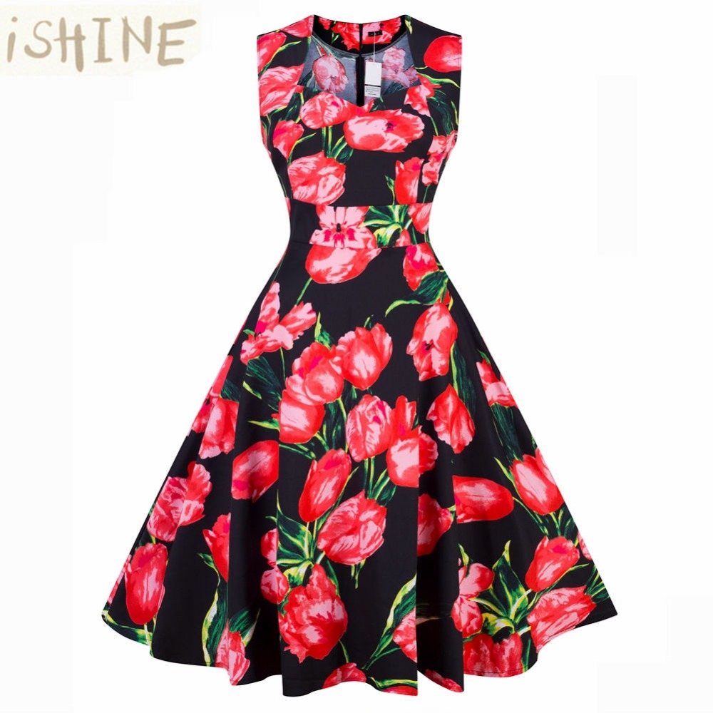 ISHINE 2017 New vintage summer women 1950s Hepburn festa dress flower print party dress women sleeveless elegant female dress