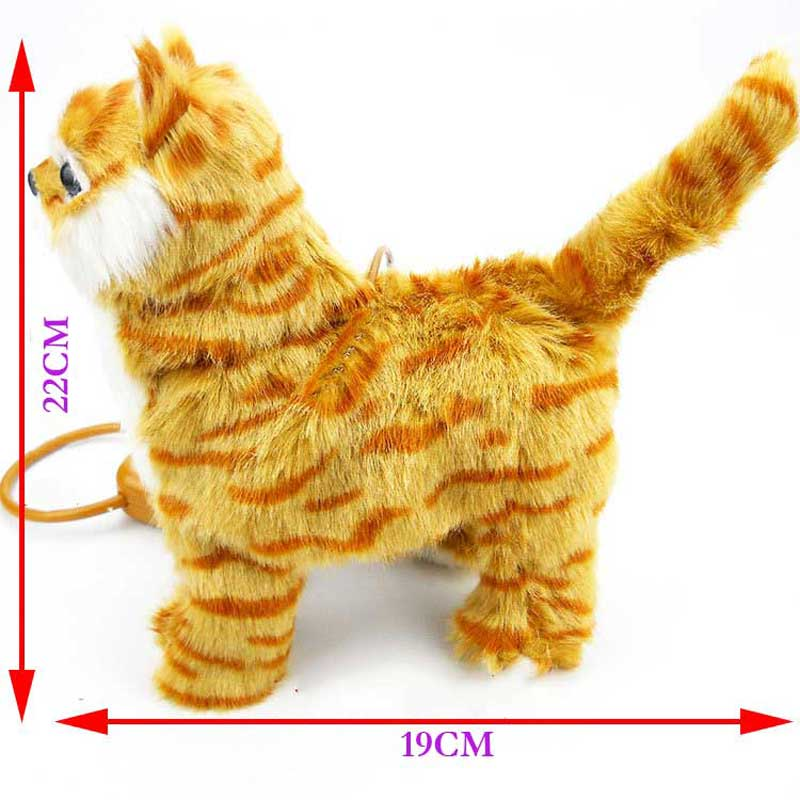 Купить с кэшбэком Robot Cat Electronic Plush Kitty Singing Songs Walk Electric Kitten Leash Control Music Cat Pet Ship From Russia Warehouse