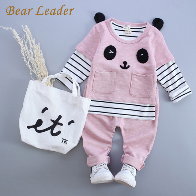 Bear Leader Baby Girl Clothes 2016 Autumn Baby Boy Clothes(Long Sleeve Striped Shirt+Panda Shirt+Pants)3Pcs Baby Clothing Sets
