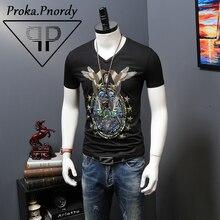 Proka Pnordy Tide Brand Short Sleeve Summer Clothing Men s Rhinestone Bird Printing V Neck Fitness