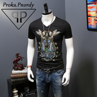 Proka Pnordy Tide Brand Short Sleeve Summer Clothing Men S Rhinestone Bird Printing V Neck Fitness