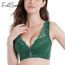 FallSweet Push up Bras for Women Plus Size Vest Bra Plunge Wire Free Brasserie Lightly Lined Underwear