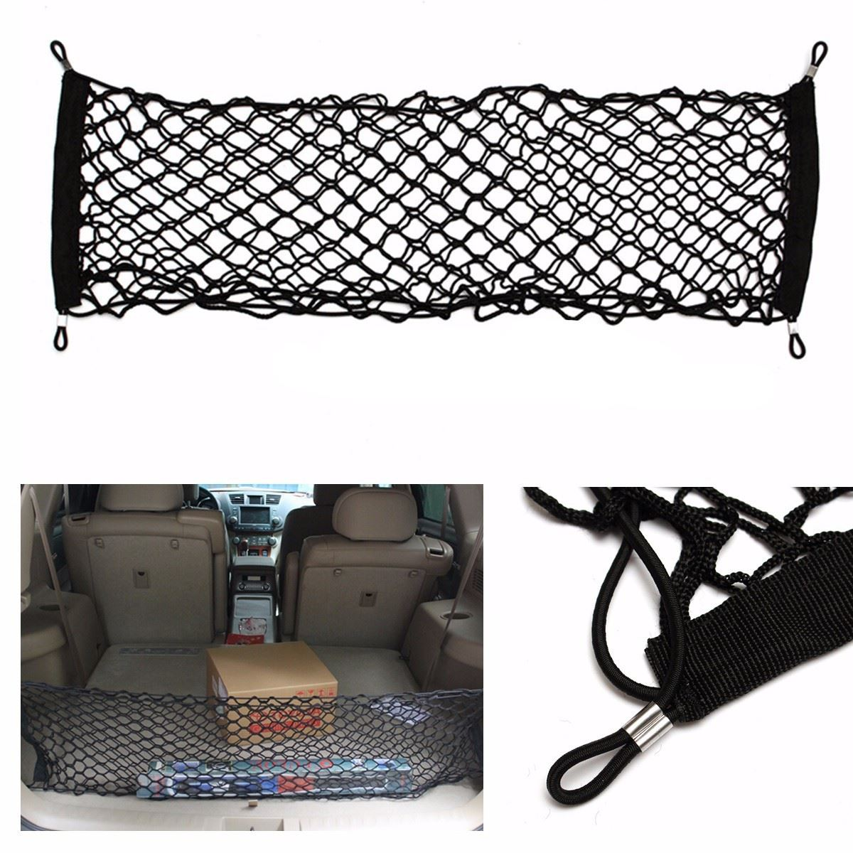 85x32cm universal double layer car truck seat back storage elastic mesh net bag luggage. Black Bedroom Furniture Sets. Home Design Ideas