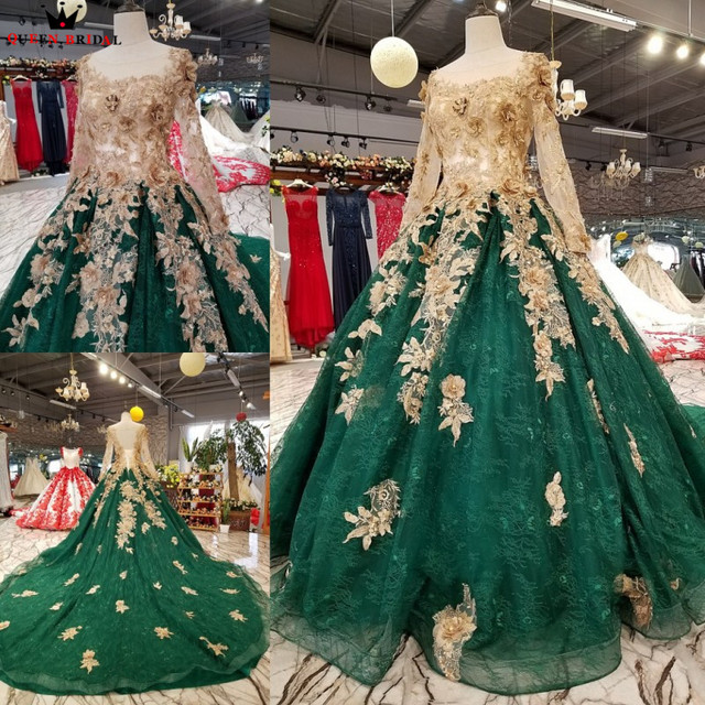 ボールガウン長袖チュール花ビーズグリーン高級イブニングドレス 100% リアルイブニングガウン 2020 Vestido デ · フェスタ KC71