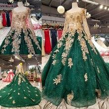 Suknia balowa z długim rękawem tiulowe kwiaty frezowanie zielone luksusowe suknie wieczorowe 100% prawdziwa suknia wieczorowa 2020 Vestido De Festa KC71