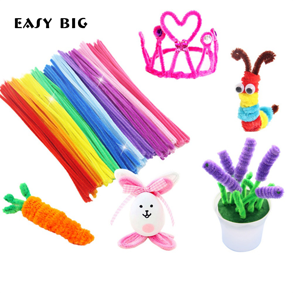 EASY BIG 100pcs Montessori Materials Chenille Puzzles Toy Craft Pipe Cleaner Math Educational Sticks Creative Puzzle NR0006