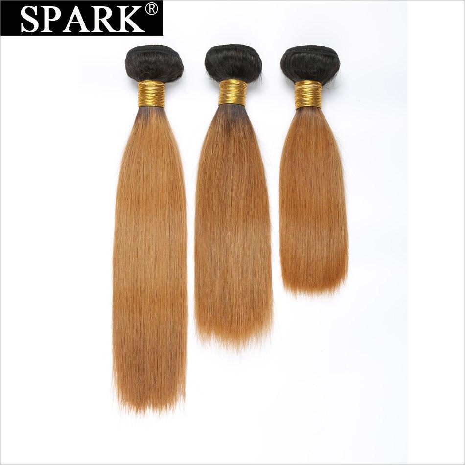 Spark Brazilian Virgin Hair Bundles Colored 1B/30 Short Hair Bundles Two Tone Ombre Straight Human Hair Weaving 3 Bundles Deals