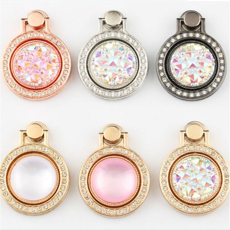 UVR Round Metal Diamond Finger Ring Smartphone Stand Holder Mobile Phone Holder Stand For iPhone Huawei All Smart Phone Sticker