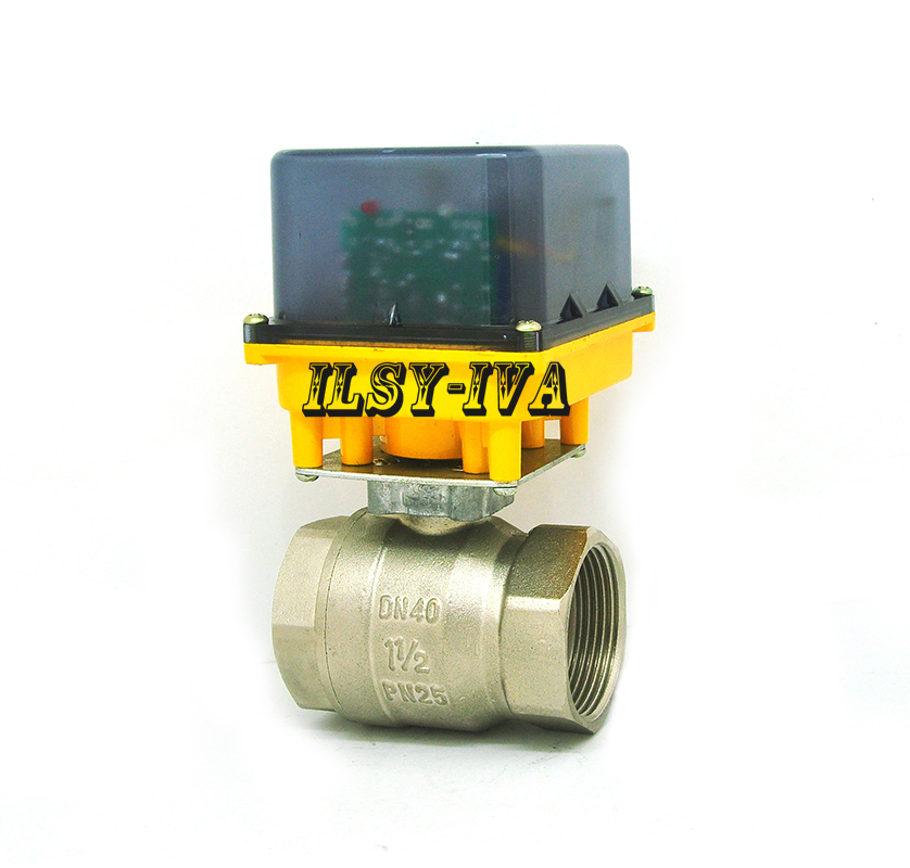 DN40 DC12V/24V fixed-type two-way brass electric ball valveDN40 DC12V/24V fixed-type two-way brass electric ball valve