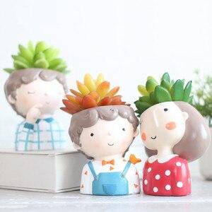 Image 3 - JO LIFE  Home Decoration Carton Succulent Planter Desktop Flower Pot European Style Mini Resin Boy Flower Pot