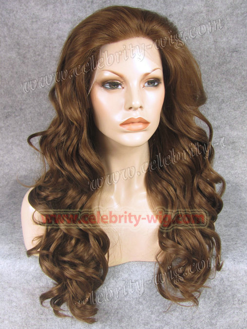 ФОТО New arrival and best sale long style body wave synthetic brown lace front wig