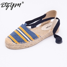 DZYM 2019 Spring Summer Ankle Strap Flats High Quality Women Platform Ballets Classic Canvas Espadrilles Smoking Shoes