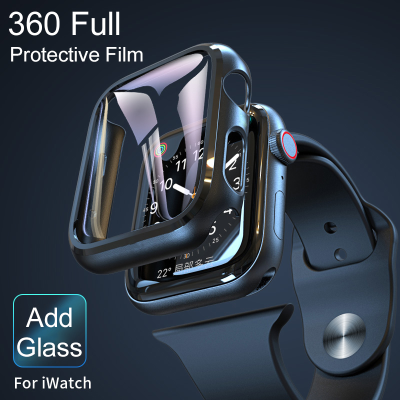 100D Tempered Glass For Apple Watch 44mm 38mm 42mm 40mm Series 4 3 2 1 Full <font><b>Cover</b></font> Curved Edge Frame Screen Protector For i Watch image