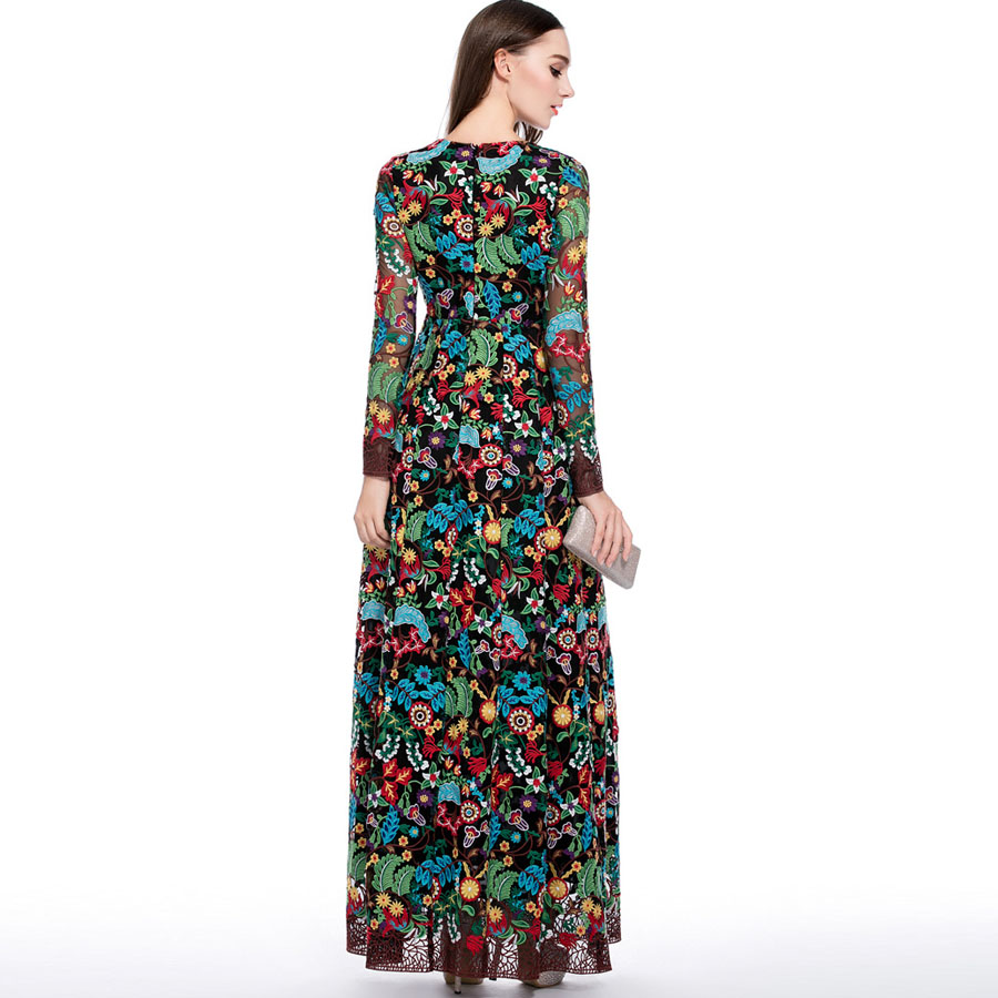 41c966e102682 Luxury from fleepmart Long Dresses 2019 Summer Runway Women New Fashion  Full Sleeve Flower Embroidery Slim Vintage XXL Elegant Party Maxi Dress