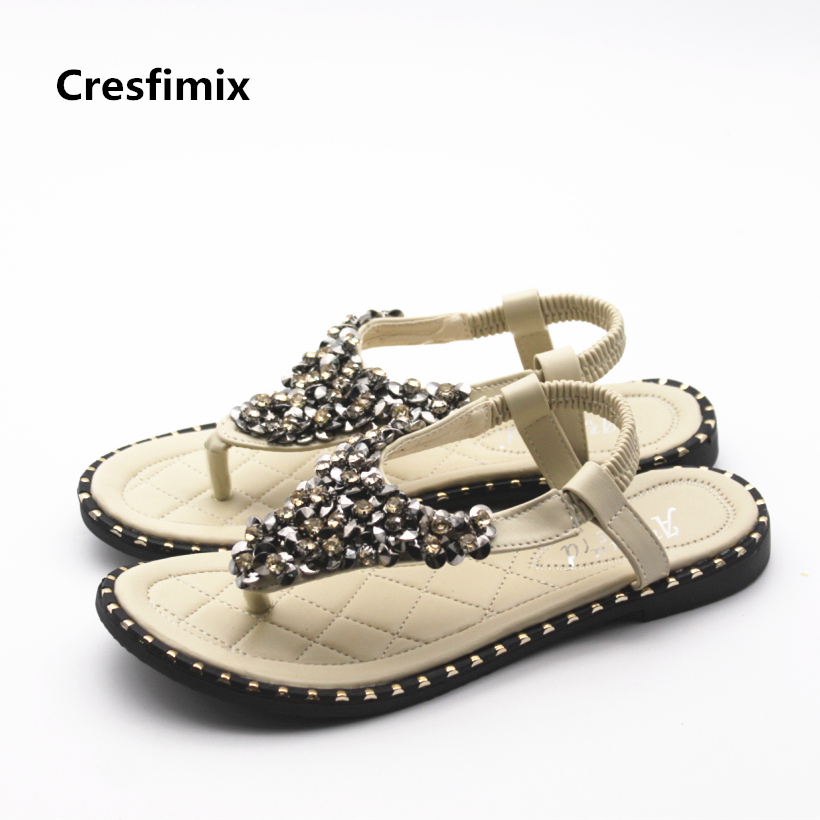 Cresfimix sandalias de mujer women cute beige spring & summer sandals lady fashion comfortable beach sandals cool crystal sandal cresfimix women cute spring