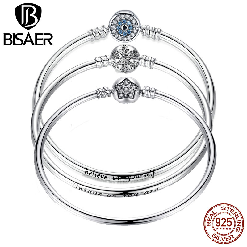 BISAER 925 Sterling Silver Pulseira Snowflake Bangles 925 Solid Silver Heart Snake Chain Clasp femme Bangle for Women Jewelry цена 2017