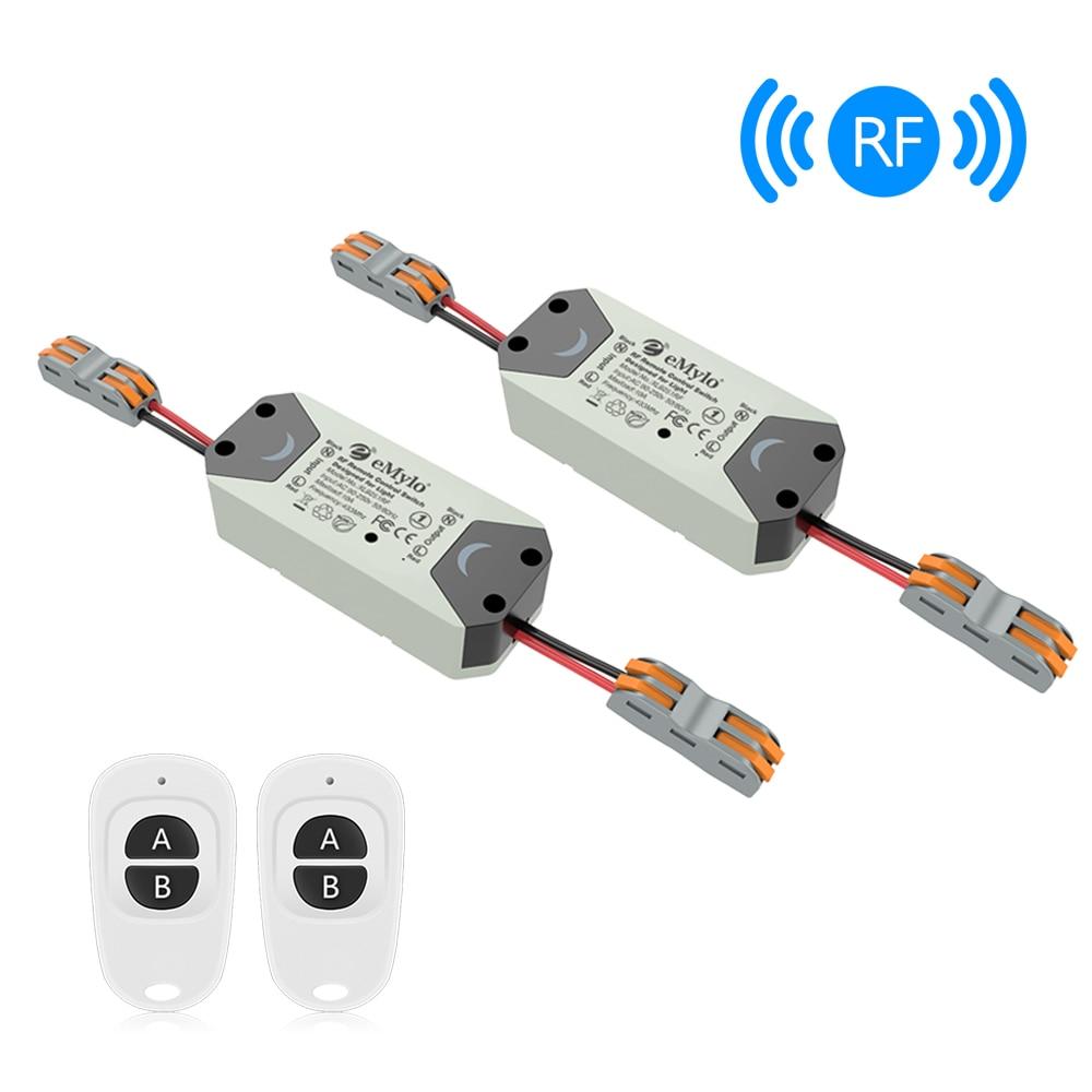Emylo Wireless Light Switch Rf Switch Ac 90v 250v 1ch 433mhz Remote Control Switch Rf Relay Module Smart Home Appliance 2pcs