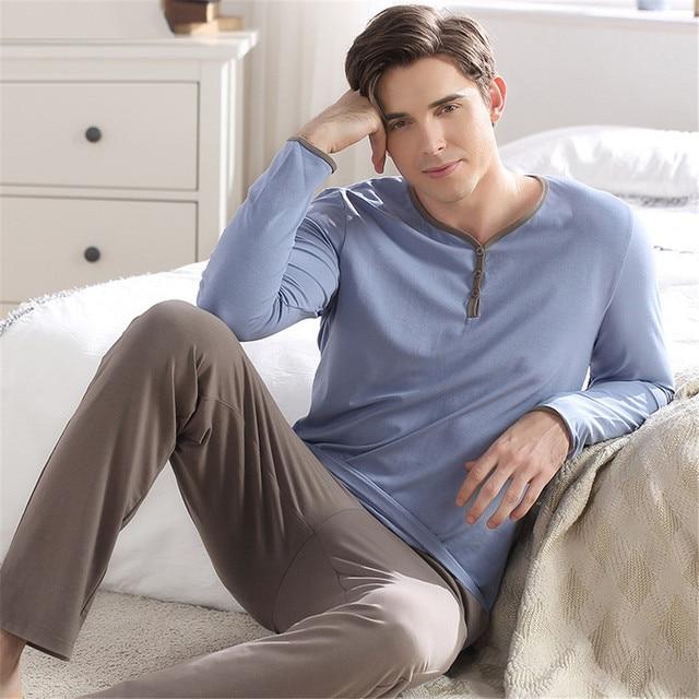 0e6cf141d39f1 Осенняя мужская пижама, сексуальное нижнее белье, пижама из 100% хлопка,  мужские Пижамные наборы, домашняя одежда, ночная рубашка + шта