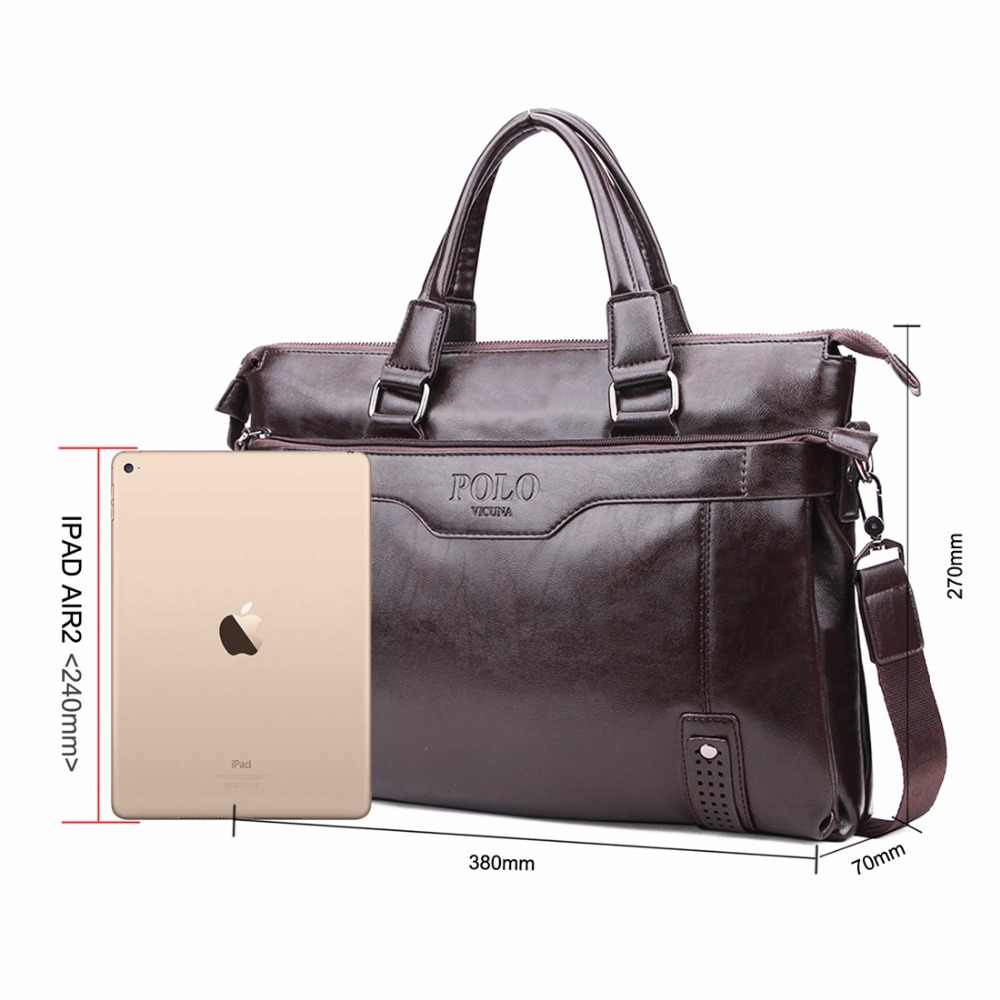b1dcbf8c43c ... VICUNA POLO High Capacity Hollow Out Bottom Men's Leather Briefcase Bag  For 14'' Laptop ...
