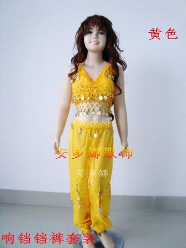 Костюм для танца живота, топ, бюстгальтер и штаны, подходит для детей ростом 90-130 см, для детей 6-13 лет, 6 цветов на выбор - Цвет: Цвет: желтый