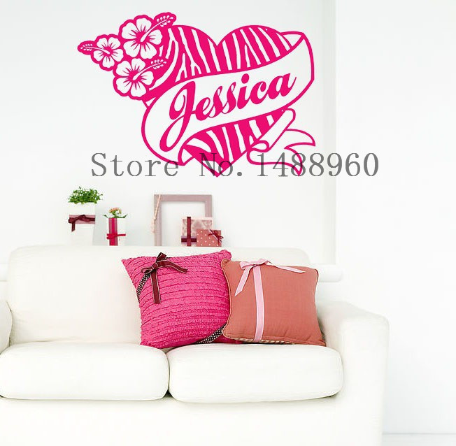 Personalized Zebra Print Heart Flower Hibis Custom Name Vinyl Wall Decal Sticker
