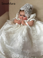 2019 High Quality Christening Gown for Baby Girls Lace Tulle Beading Infant Girls Cute Baptism Dress with Bonnet White Ivory