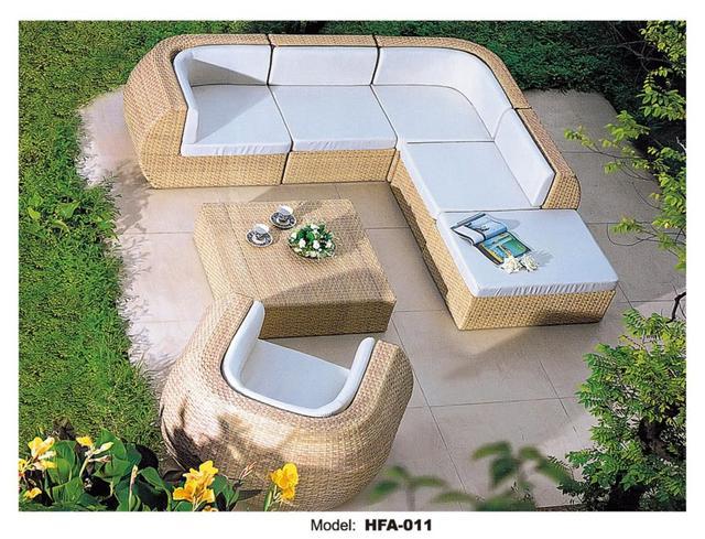 rattan outdoor sofa set 6 seat garden furniture with table chiar rattan sofa set wicker patio