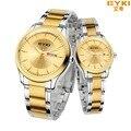 2016 EYKI watch men gold luxury brand full stainless steel men's quartz-watch with calendar montre homme hour clock watch women