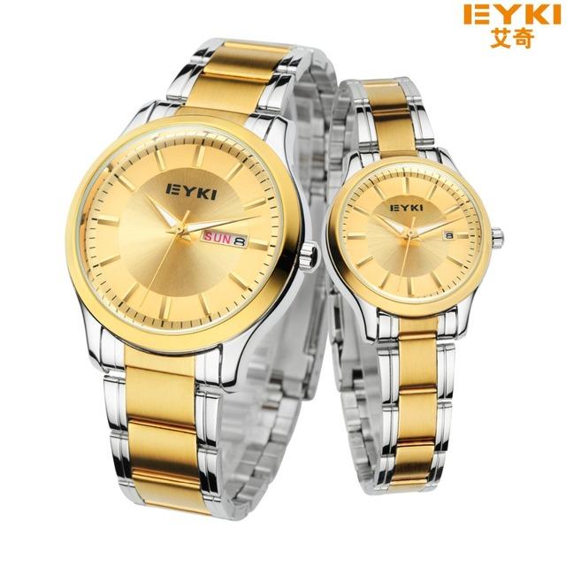 2016 eyki homens relógio de ouro marca de luxo cheio de aço inoxidável de quartzo-relógio dos homens com calendário montre homme horas relógio relógio das mulheres