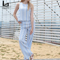 Hui Lin Blue Striped Sleeveless Tank Pants  Women Sets Two Pieces Fashion Hot Sale New Design Elegant  Brief Style