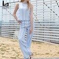 Hui Lin Calças Listrado Azul Sem Mangas Tanque Mulheres Conjuntos de Duas Peças de Moda Venda Quente Novo Design Elegante Breve Estilo