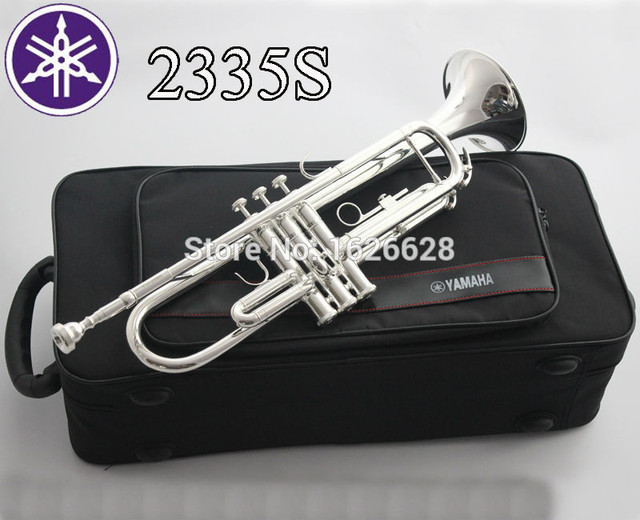 Cheap Free Shipping New Bach Brass Trumpet YTR-2335S Bb Silver Plated Trompeta Profissional Instrumentos Case Mouthpiece
