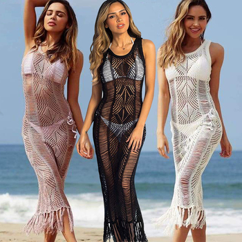 Blouse 2019 Women Crochet Tassel Mesh l Long Beach Blouse Swimwear Sheer Swimwear Beach Bathing Maxi Dress