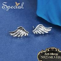 Special Brand Fashion 925 Sterling Silver Stud Earrings Angel Wings AAA Zirconia Earrings Ear Pins Gifts