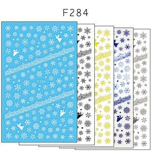 Image 5 - 1 szt. 3D naklejka do paznokci motyw świąteczny wzór mieszany jeleń/płatek śniegu porady dotyczące paznokci DIY naklejka dekoracyjna naklejka LAF281 284