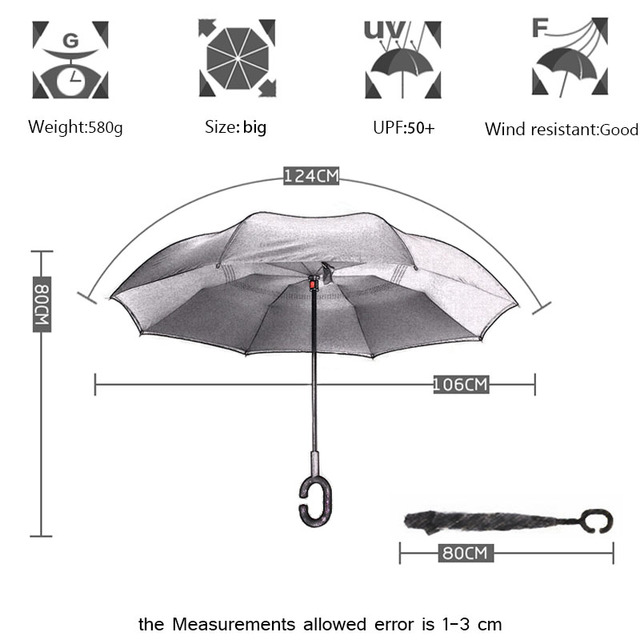 Yesello Chinese Inverted Umbrella Double Layer Windproof Reverse Umbrella for Car and Outdoor Use
