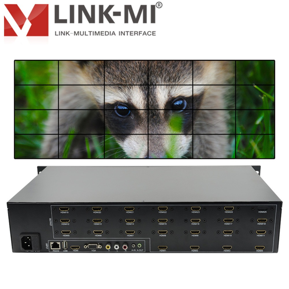 LINK-MI TV24 4x6 1920x1080 Full HD lcd 4x4 3x3 hdmi video wall controller for hd tv vga display