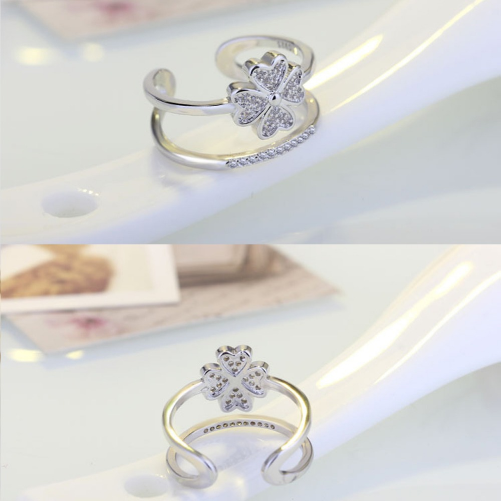 Crystals From Swarovski Ring Midi Finger Vintage Engagement Clover