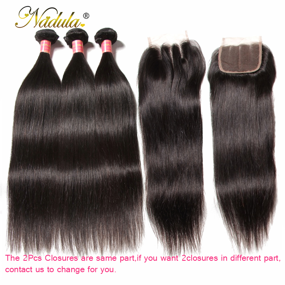 Nadula Hair 3 Bundles With 2Pcs Closures Indian Straight Hair Bundles With Closure 100% Remy Hair Bundles With 4*4 Lace Closure
