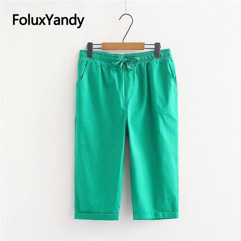8 Colors Calf-length   Pants   Women   Capris   Plus Size XXXL 4XL Elastic Waist Casual Stretch Straight Summer   Pants   Trousers KKFY3638