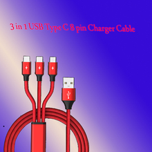 3 in 1 USB Cable for Mobile Phone Micro Type C 8 pin Charger iPh  Cord Fast Charging Cables